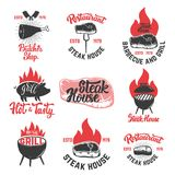 Set of vintage steak house emblems. Grilled steak. Design elements for poster, emblem, sign, badge, emblem. Vector illustration Royalty Free Stock Images