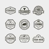 Set of vintage steak house logos. vector illustration. Set of vintage steak house logos. retro styled grill restaurant emblems, badges, design elements, logotype Stock Photography
