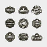 Set of vintage steak house logos. vector illustration. Set of vintage steak house logos. retro styled grill restaurant emblems, badges, design elements, logotype Stock Photos