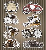 Set of vintage steam bike. Steampunk style.Template steampunk design for card. Big fish. Steampunk style. Template steampunk design for card. Frame steampunk Stock Photography