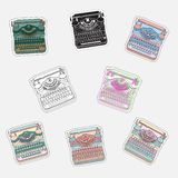 Set of vintage sticker badges with typewriters Vector illustrations. Set of vintage sticker badges with typewriters. Vector illustrations for patches, transfer royalty free illustration