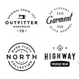 Set of vintage stickers on apparel theme. Labels for t-shirt, print, cloth, fabric, clothing badge, etc. Retro old style Stock Photography