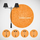 Set vintage street lights on colored backgrounds Royalty Free Stock Photos