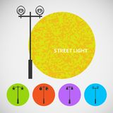 Set vintage street lights on colored backgrounds Royalty Free Stock Photography