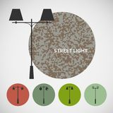 Set vintage street lights on colored backgrounds Stock Photo