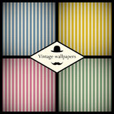 Set of vintage striped patterns Stock Image