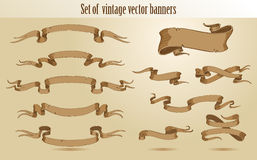 Set of vintage stroked banners Royalty Free Stock Photos