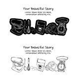 Set of vintage style baking tools stickers Stock Photos
