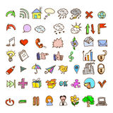 Set of vintage style doodles icons Stock Images