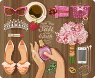 Set of vintage style drawings related to holidays and celebrations. Top view Stock Photo