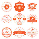 Set of vintage style elements for labels and badges for organic food vector illustration