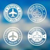 Set of vintage style flight label on blurred landscape backgroun Stock Images