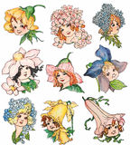 Set of vintage style flower fairy illustrations Royalty Free Stock Images