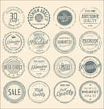 Set of vintage style grunge circular stamps. Illustration royalty free illustration