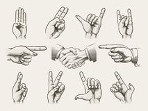 Set of vintage style hand gestures Stock Photo