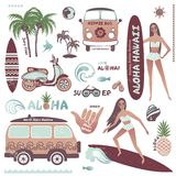 Set of vintage style Hawaiian summer icons  surf girl, hippie Royalty Free Stock Photography