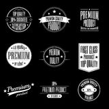 Set of vintage style labels - premium quality product and guaranteed satisfaction signs. Collection of vintage labels - premium quality and guaranteed Stock Images