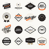 Set of vintage style premium quality badges and labels for designers. Stock Image