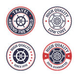 Set of vintage style sea and summer nautical signs, badges and l Royalty Free Stock Photos