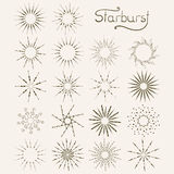 Set of vintage style starburst hand drawn elements Royalty Free Stock Images