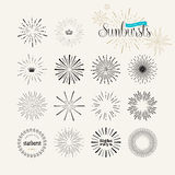 Set of vintage style sunburst elements for graphic and web design Royalty Free Stock Image