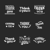 Set of vintage style Thank You labels, emblems, stickers or badg Stock Photos