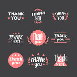 Set of vintage style Thank You labels, emblems, stickers or badg Stock Photography