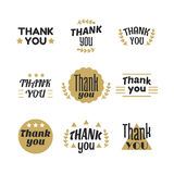 Set of vintage style Thank You labels, emblems, stickers, badges Royalty Free Stock Images