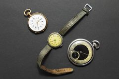Set of vintage style watches on black background Stock Photography