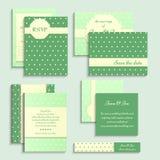 Set of vintage style wedding cards. Wedding invitation, rsvp card, tag on polka dot pattern. Royalty Free Stock Image