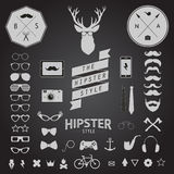 Set of Vintage styled design Hipster icons. Vector illustration background Royalty Free Stock Image