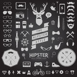 Set of vintage styled design hipster icons. Vector signs and symbols templates Royalty Free Stock Photos