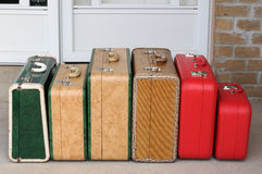 Set of vintage suitcases. Back home from a trip stock image