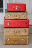 Set of vintage suitcases - vertical stack Stock Images