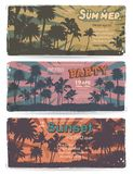 Set of Vintage summer banners with palm trees Royalty Free Stock Photography