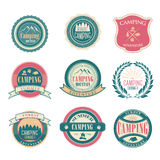 Set of vintage summer camp badges and outdoors Stock Photos