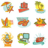 Set of Vintage Summer Labels Royalty Free Stock Photography