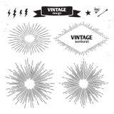 Set of Vintage Sun Burst. Vector monochrome light rays Stock Photo