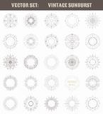 Set of vintage sunburst. Geometric shapes and Stock Image