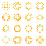 Set of vintage sunburst. Geometric shapes and light ray collection. Hipster style frames. Vector illustration of grunge design. Golden shapes isolated on white Royalty Free Stock Images