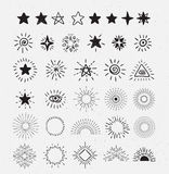 Set Of Vintage Sunburst and stars.  Hand-Drawn Vector Hipster Design Elements. Royalty Free Stock Image