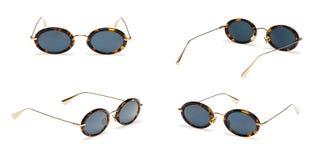 Set Vintage Sunglasses isolated on white background. Collection fashion retro eye glasses.  royalty free stock photography