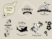 Set of vintage surfing badges and banners. Set of different vintage surfing badges and banners Stock Photography