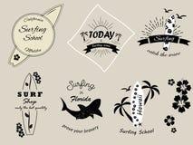 Set of vintage surfing badges and banners. Set of different vintage surfing badges and banners Vector Illustration