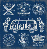 Set of Vintage Surfing Graphics and Emblems Stock Photo