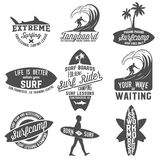 Set of vintage surfing labels, badges and emblems vector illustration