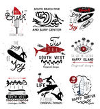 Set of vintage surfing  Labels, logo and design elements Stock Photography