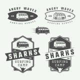 Set of vintage surfing logos, emblems, badges, labels. And design elements. Graphic art. Vector Illustration Stock Image