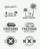Set of vintage surfing logos, emblems, badges, labels. And design elements. Graphic vector Illustration Stock Image