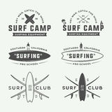 Set of vintage surfing logos, emblems, badges, labels. And design elements. Graphic vector Illustration Stock Photo